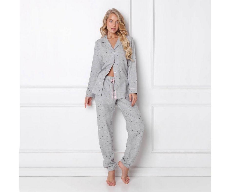 Pijamale dama Christy 2 piese, pantaloni lungi, 100% bumbac