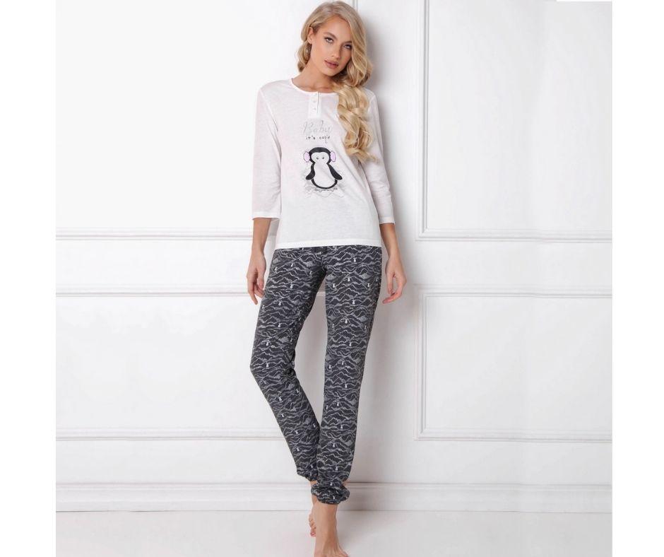 Pijamale dama Peggy Arctic 2 piese, pantaloni lungi mindblower